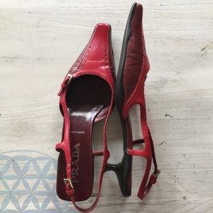 Prada red low-heel slingbacks
